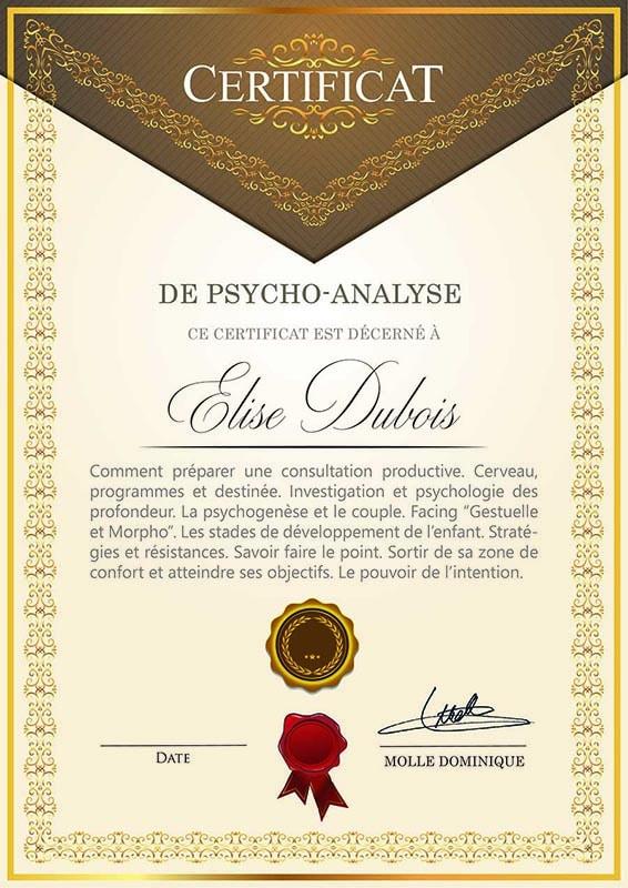 Exemple de certificat Facing - Psycho Analyse - Dominique Molle - Formation 2